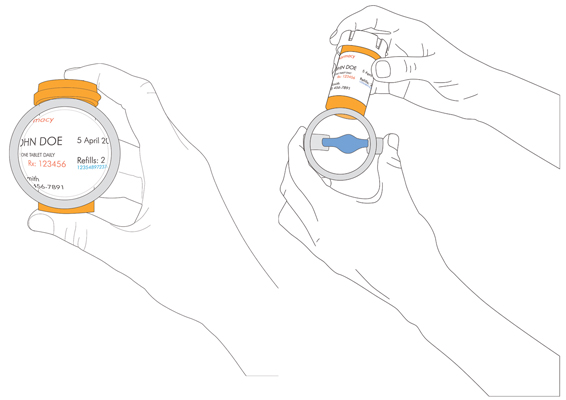 a slip-on magnifier for bottles